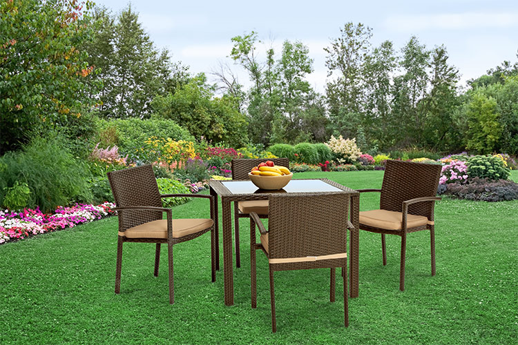 polyrattan gartenm bel poly rattan essgruppe sitzgruppe 1 tisch 4 st hle neu ebay. Black Bedroom Furniture Sets. Home Design Ideas